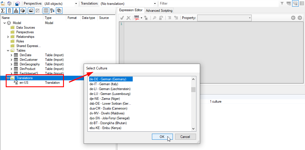 Übersetzungen im Tabular Editor