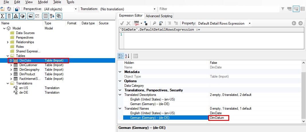 Übersetzen einer Tabelle im Tabular Editor