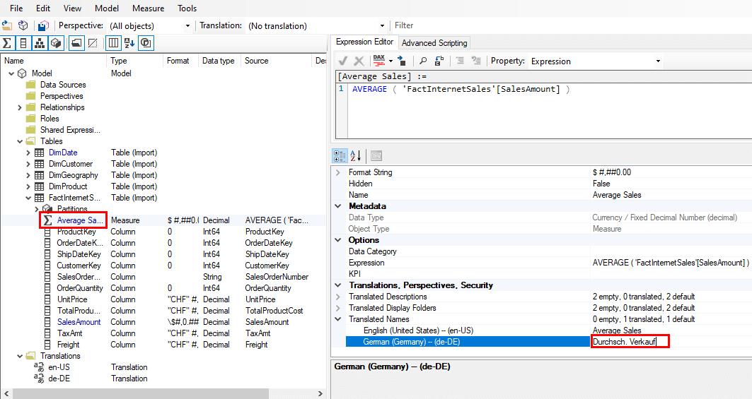 Übersetzen eines Measures im Tabular Editor