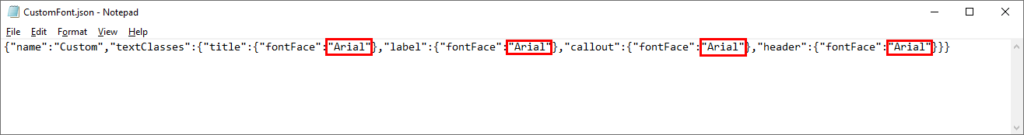 The existing font in the theme JSON file