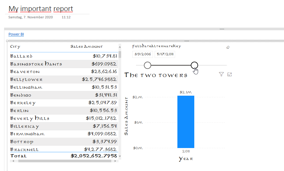 Report can be integrated in OneNote.