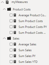 Measure table with folders