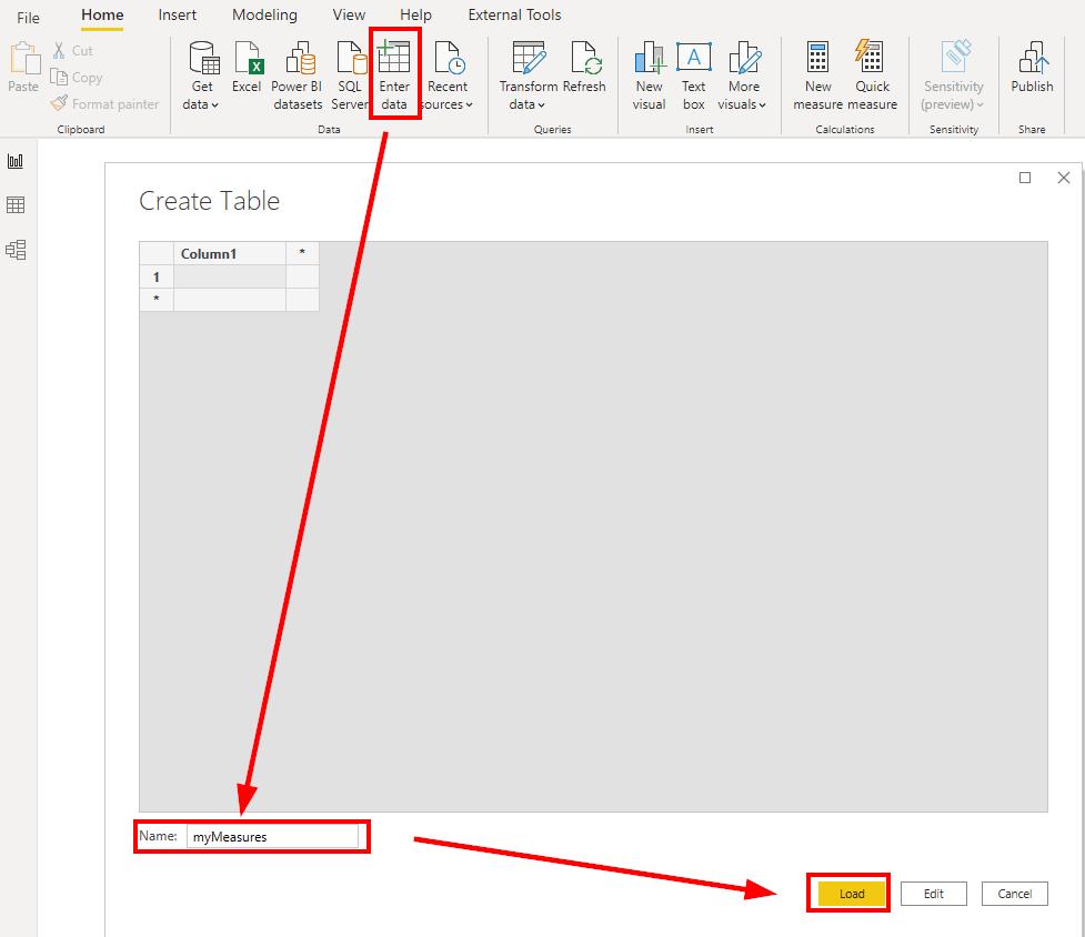 Create an empty table in Power BI