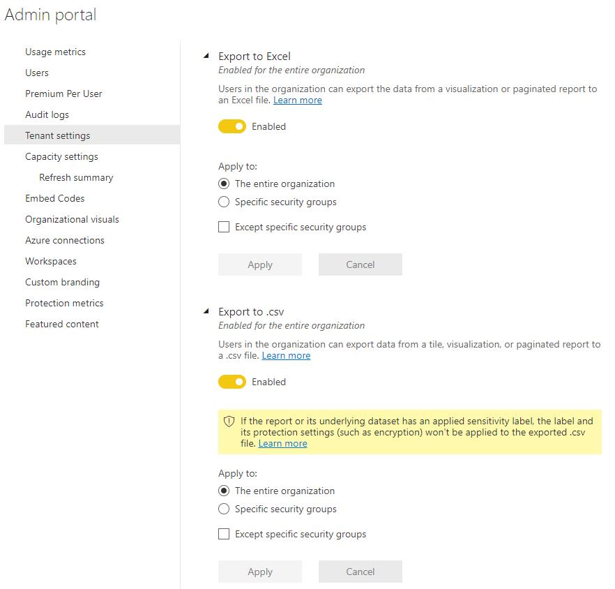 Power BI Tenant settings zum Export der darunterliegenden Daten