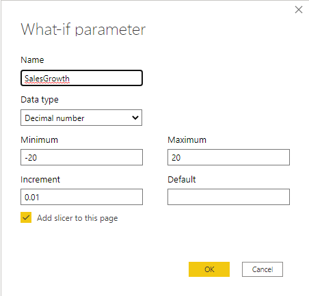 Fine granular settings of the what-if parameter