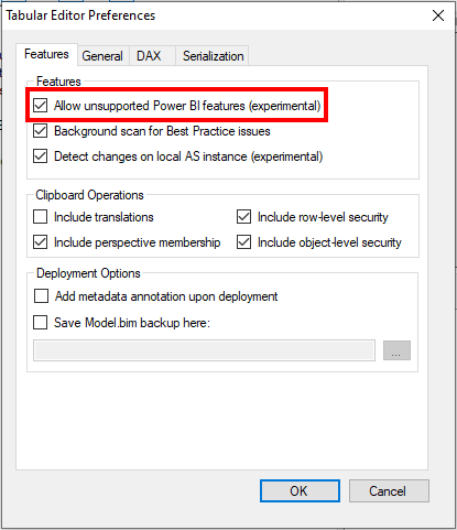 Enable experimental features in Tabular Editor