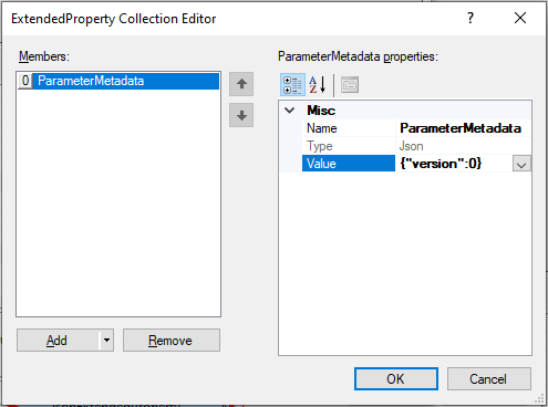 Creating the ParameterMetadata property