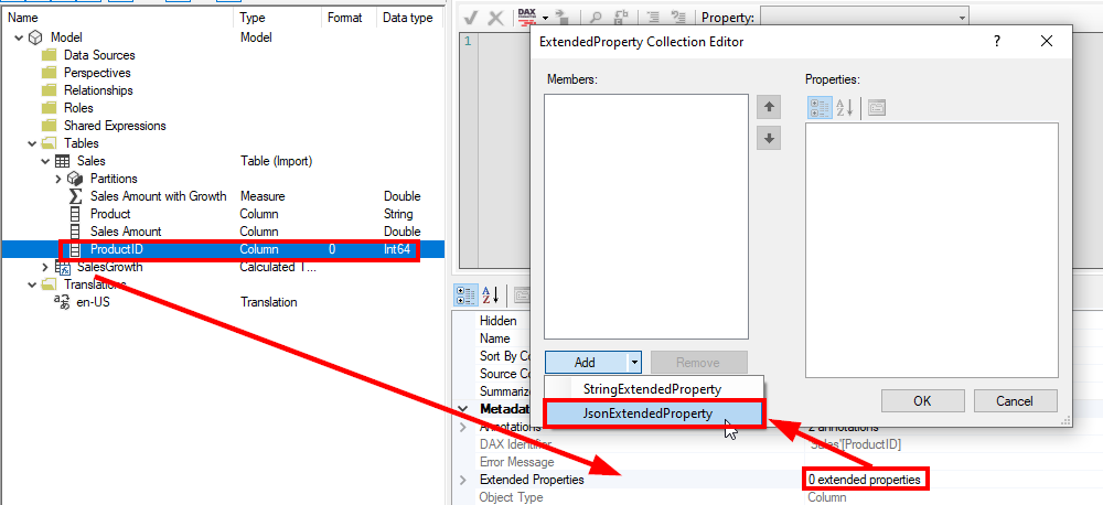 Adding a new JsonExtendedProperty in Tabular Editor