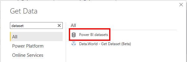 Add Power BI Dataset in Power BI
